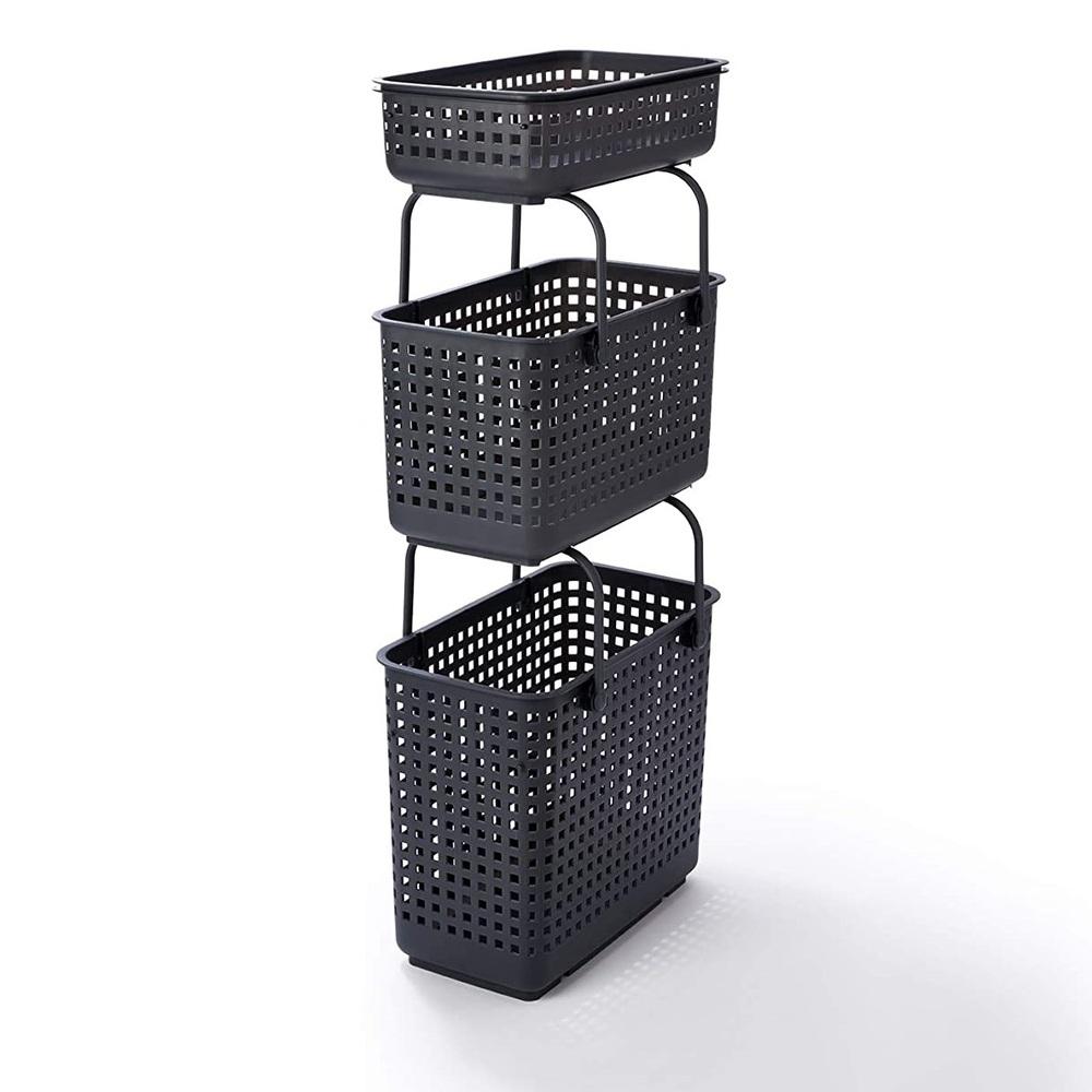日本Like-it|[窄款]隙縫型多功能可堆疊含蓋收納籃 洗衣籃(三層組)