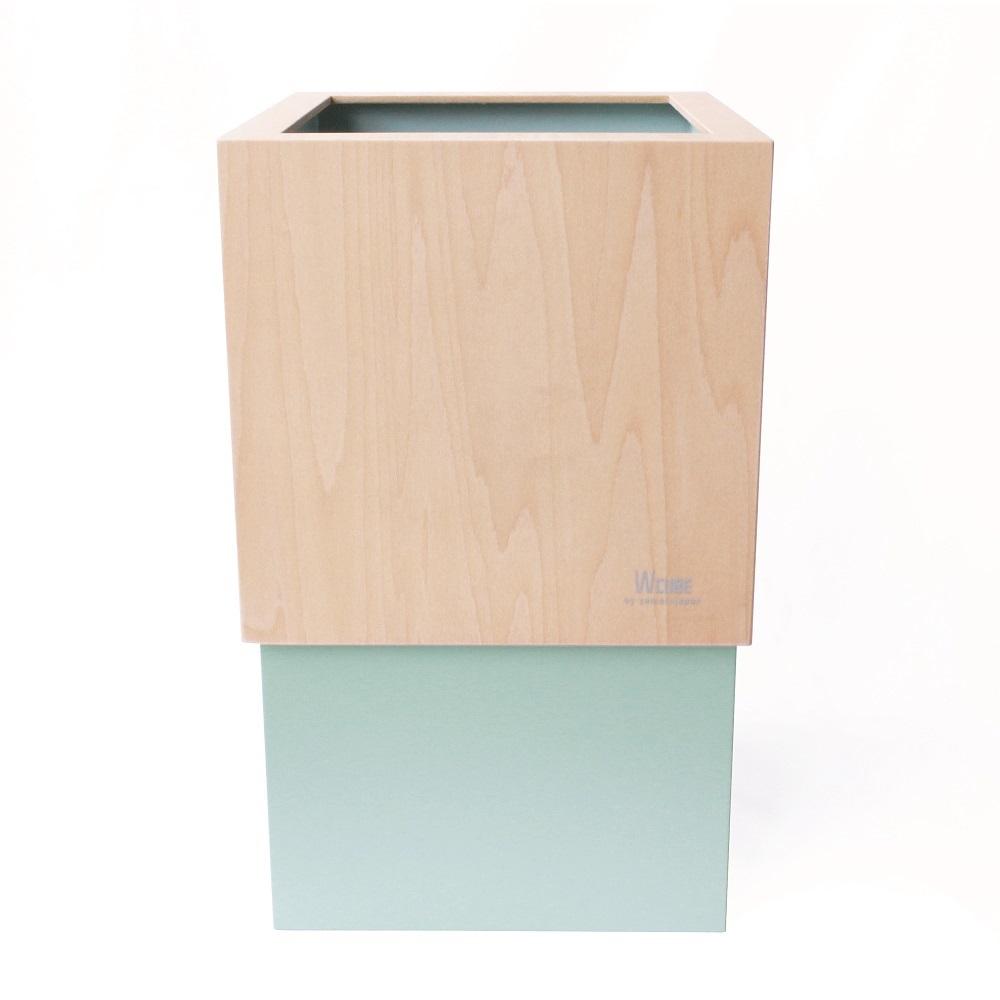 yamato japan 純手工木製 WCUBE(金屬感)北歐風小型垃圾桶10L