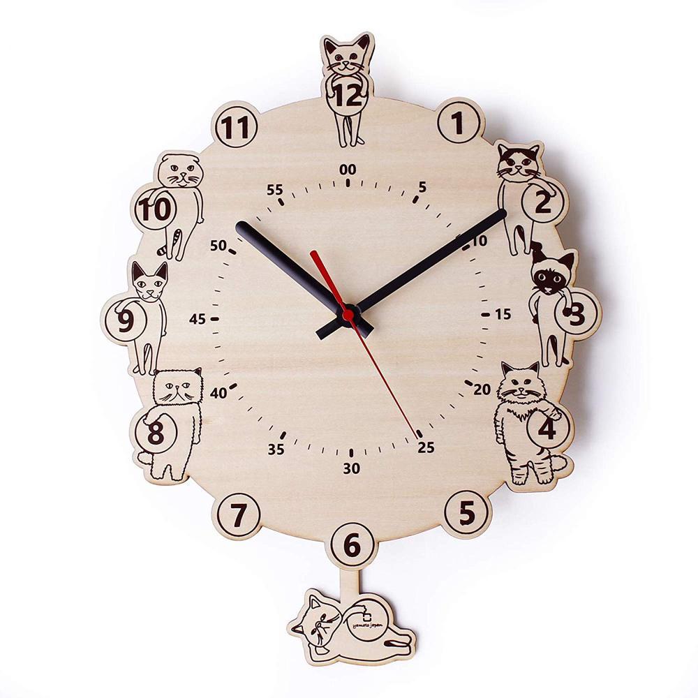 yamato japan 純手工木製可愛貓咪造型壁掛時鐘