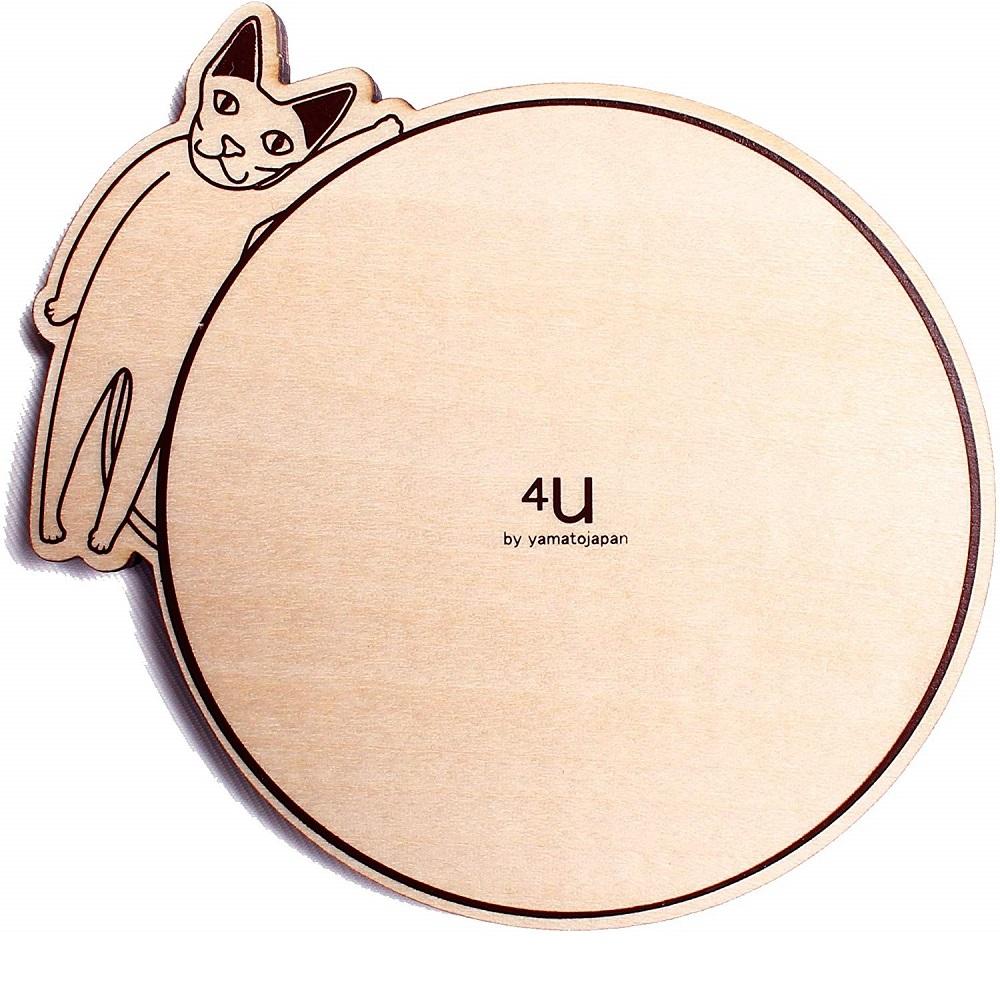 yamato japan|純手工木製貓咪造型杯墊-八入組