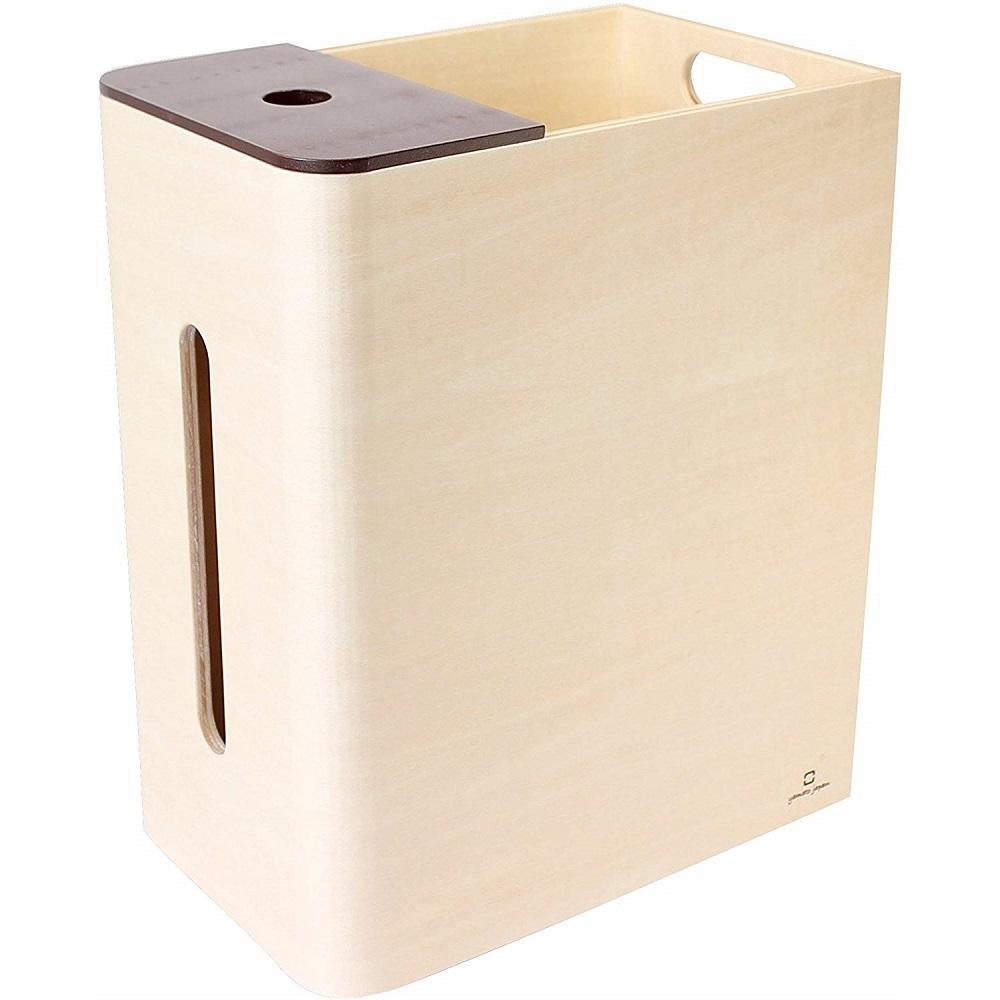 yamato japan|Double D 手作木製多功能面紙盒式桌上小型垃圾桶(高)