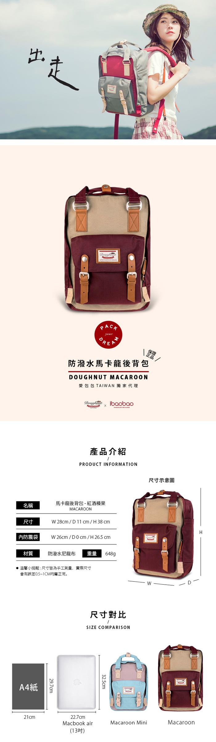 (複製)IBAOBAO愛包包|Doughnut 防潑水馬卡龍後背包-午茶時光