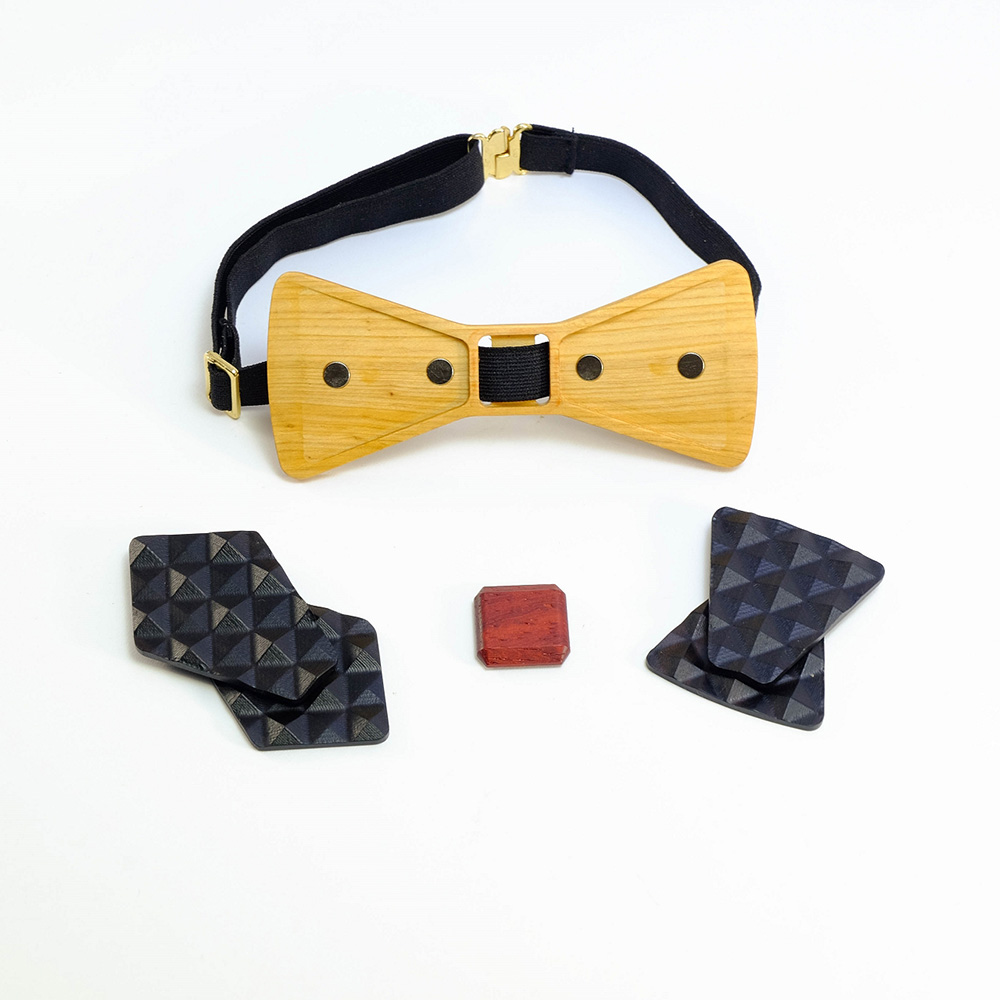 Millimeter|木領結 3D WOOD TIE(黑色套裝組)