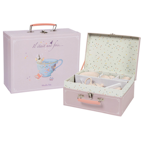 法國 Moulin Roty|粉紅瓷器茶具禮盒組
