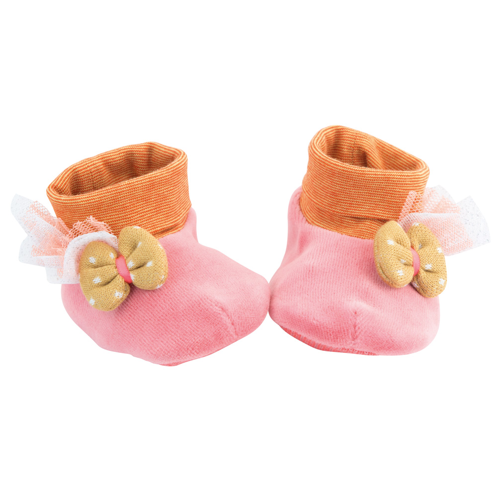 法國 Moulin Roty|Tartempois 粉紅寶貝飽暖鞋套 0-6個月