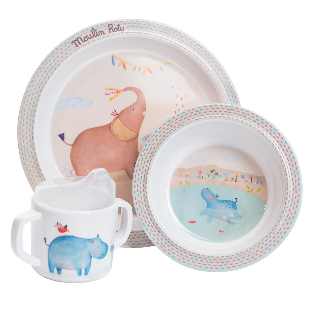 法國 Moulin Roty|Papoum 寶寶安全杯盤禮盒組 (盤、碗、杯三件組)