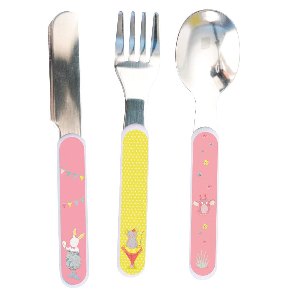 法國 Moulin Roty|粉戀寶寶安全快樂餐具禮盒組 (刀、叉、湯匙三件組)