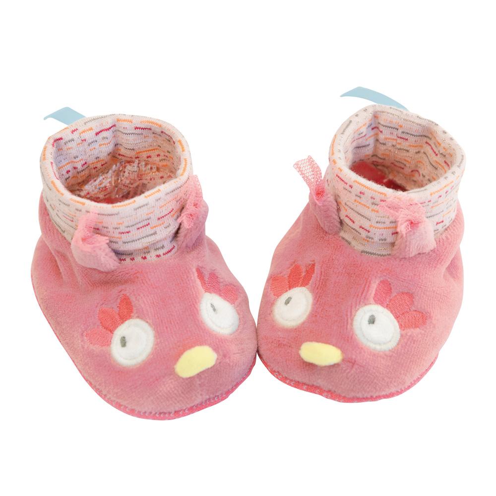 法國 Moulin Roty|粉戀貓頭鷹女寶寶專用保暖鞋套 0-6個月