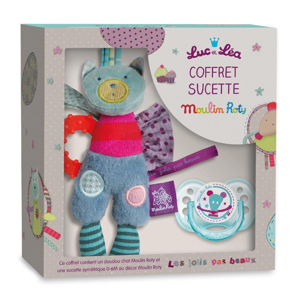 法國 Moulin Roty|喬麗絲 Luc & Lea 安撫奶嘴、安撫娃娃禮盒組 0%BPA; 0-6個月