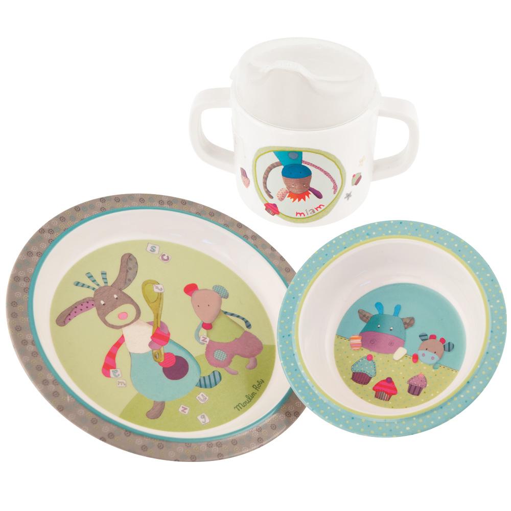 法國 Moulin Roty|喬麗絲寶寶安全快樂杯盤禮盒組 (盤、碗、杯三件組)