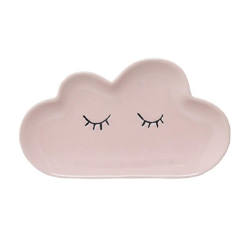 Bloomingville|睫毛彎彎 雲朵小姐 瓷盤(粉)