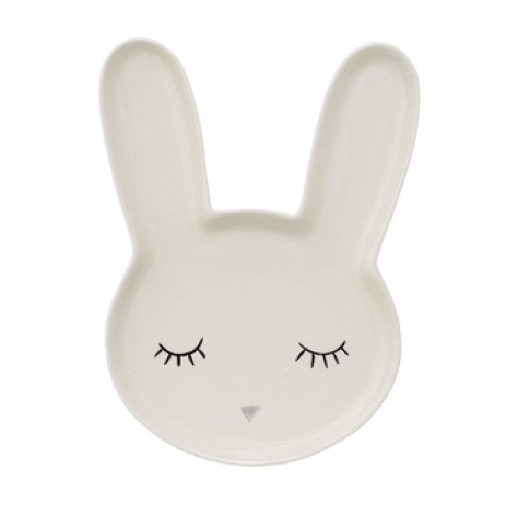 Bloomingville|睫毛彎彎 兔子小姐 瓷盤(白)