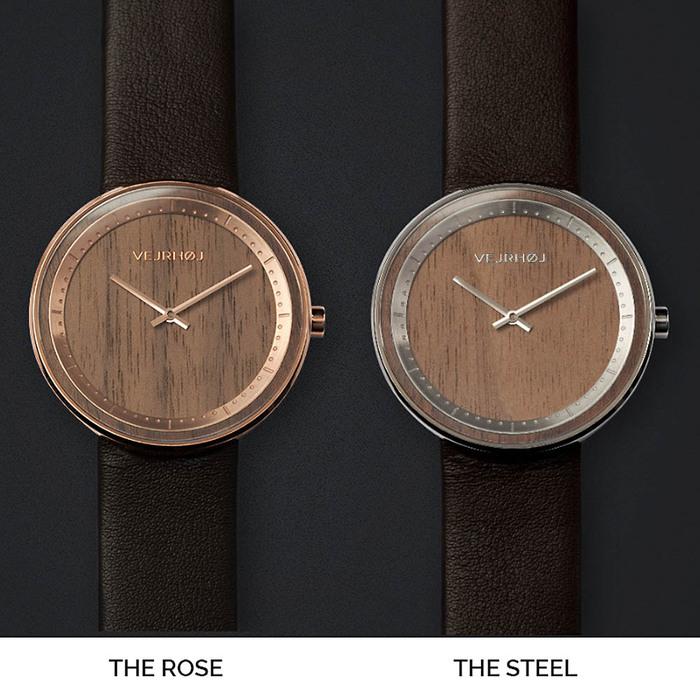 VEJRHOJ|丹麥霍伊經典原木手錶-Element 玫瑰金-美洲胡桃木