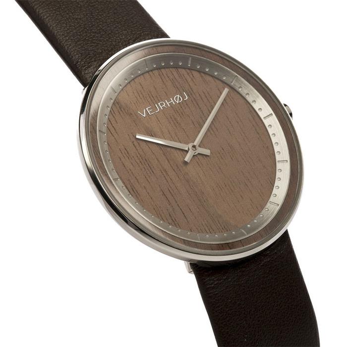 VEJRHOJ|丹麥霍伊經典原木手錶-Element 不銹鋼銀-美洲胡桃木