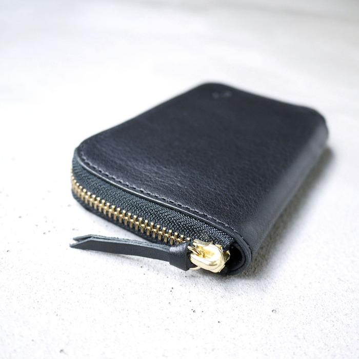 CLEDRAN|品味好質感 日本職人手作拉鍊植鞣牛皮兩折中夾/皮夾