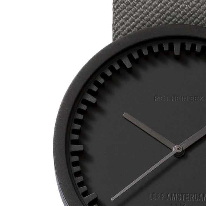 LEFF Amsterdam Tube |北歐工業齒輪設計 尼龍 X 小牛皮腕錶 (42mm,霧黑錶盤、 灰色尼龍錶帶)