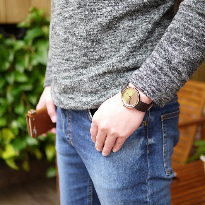 VEJRHOJ|丹麥霍伊經典原木手錶-Element 金色-美洲胡桃木