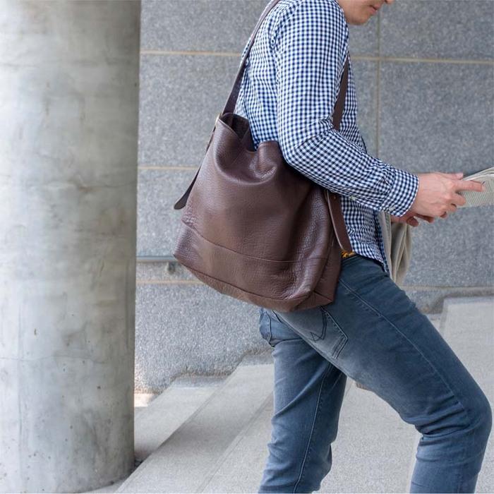 TEHA' AMANA|植鞣工藝 日本職人手作牛皮兩用肩背/斜背包 咖啡色