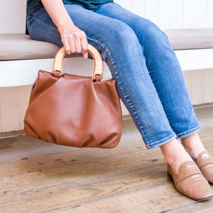 FOLNA|日本職人款 花苞式原木提把手拿/提包