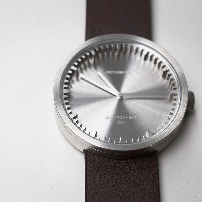 LEFF amsterdam|tube 北歐工業齒輪設計真皮腕錶 (38mm,不鏽鋼、棕皮帶)