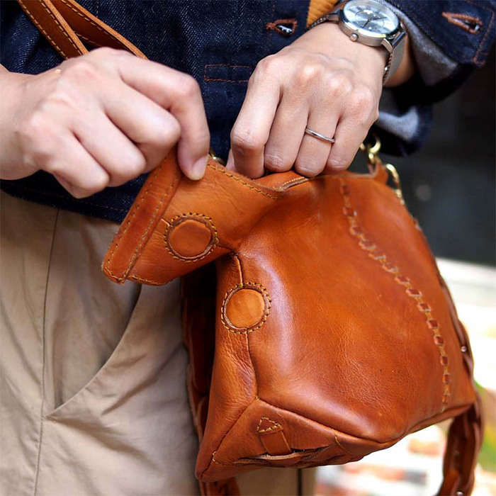 ROBITA|日系職人手工編織牛革質感側背/手拿包
