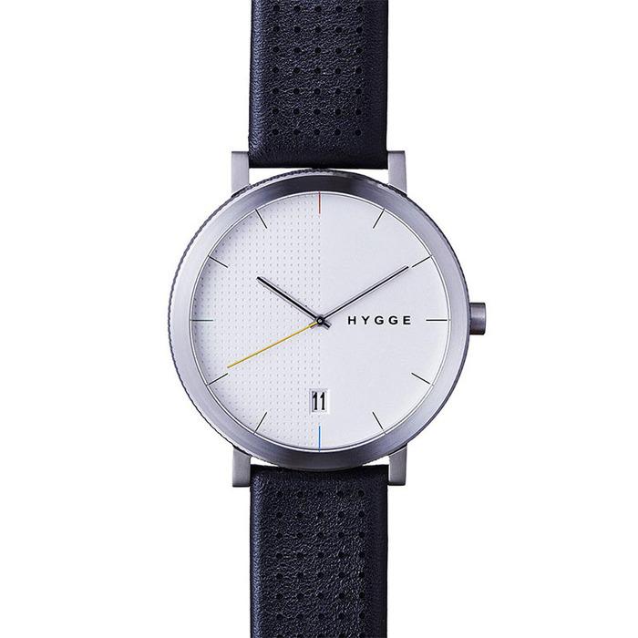HYGGE|日本低調率性真皮腕錶(不銹鋼銀、黑色皮錶帶)