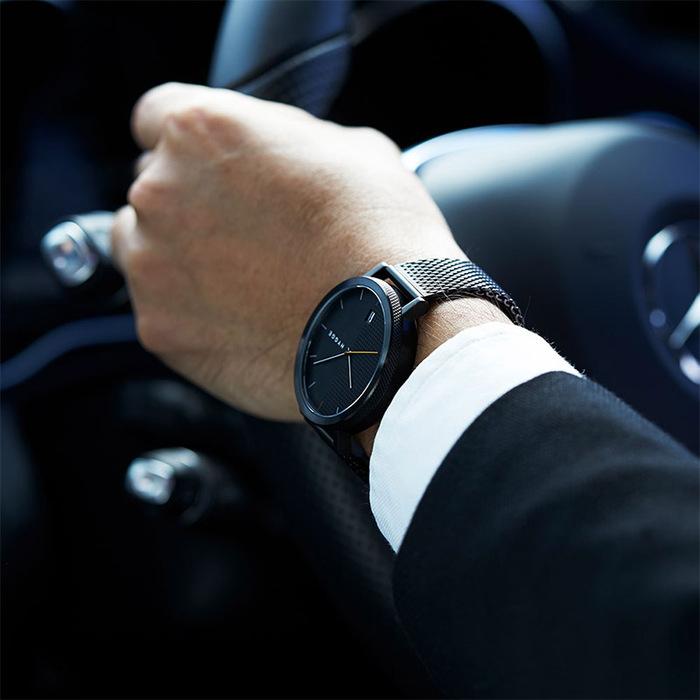 HYGGE|日本低調率性真皮/金屬腕錶(不銹鋼霧黑、金屬霧黑錶帶)