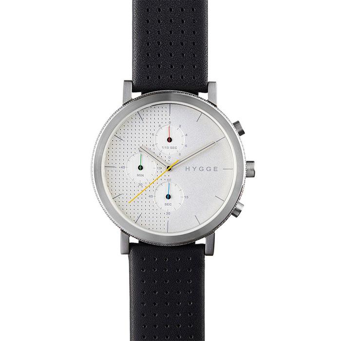 HYGGE|都會時尚,機能真皮腕錶(不銹鋼銀、黑色皮錶帶)
