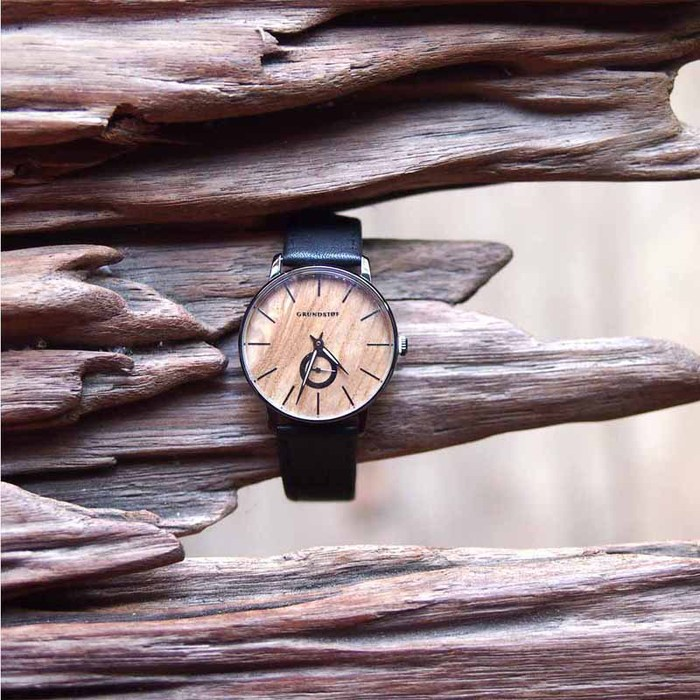 Grundstof|都會時尚原木手錶-淺色橄欖木節 40mm 不鏽鋼銀 黑皮帶