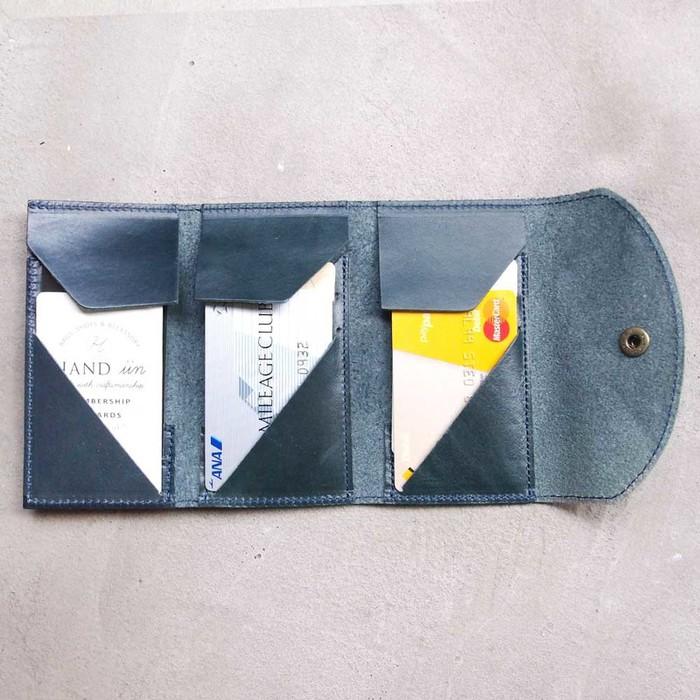 LESS DESIGN 日系設計款 職人率性三折牛皮卡片夾