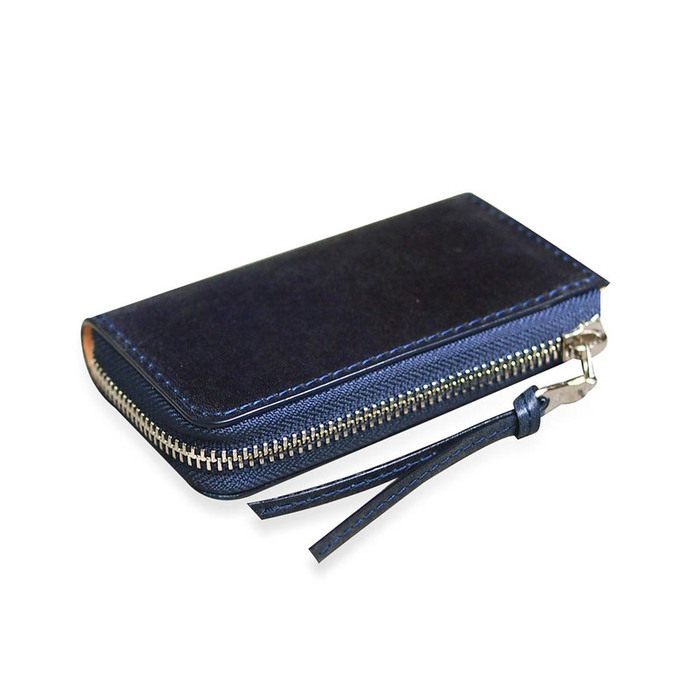 Baggy Port  日系手工藍染 經典牛皮拉鍊鑰匙包