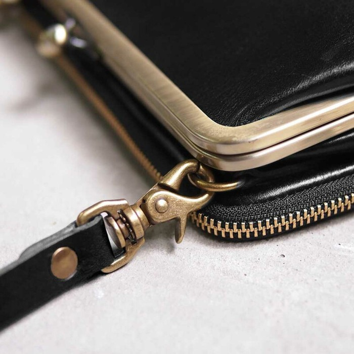 CLEDRAN|日系經典質感 珠扣多油脂牛皮側背/手拿包