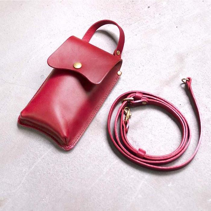 Baggy Port|日系柔美 弧形線條牛皮手機套/隨身袋