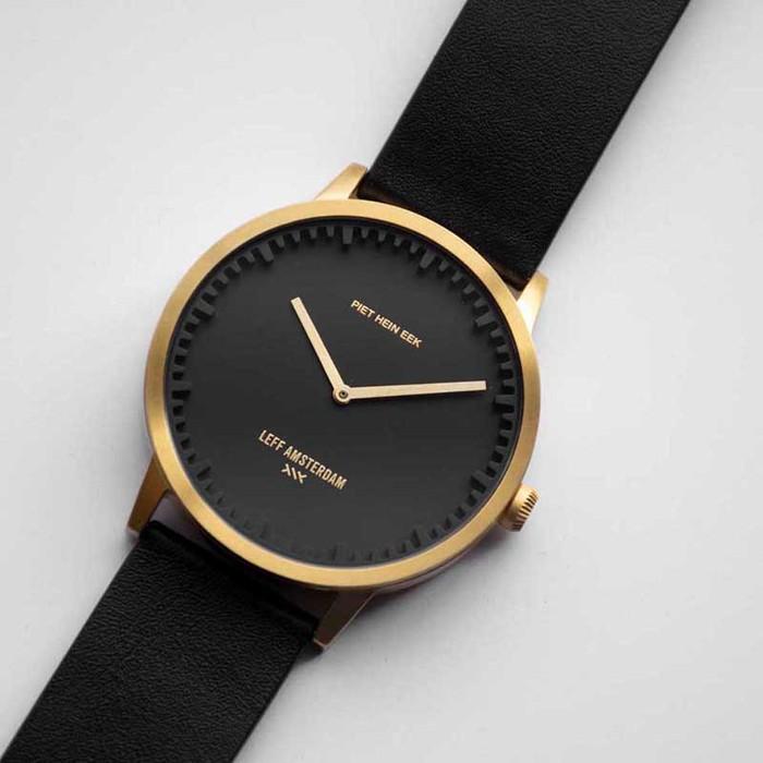 LEFF amsterdam|北歐工業齒輪設計真皮腕錶 (40mm黃銅金x黑皮革錶帶)