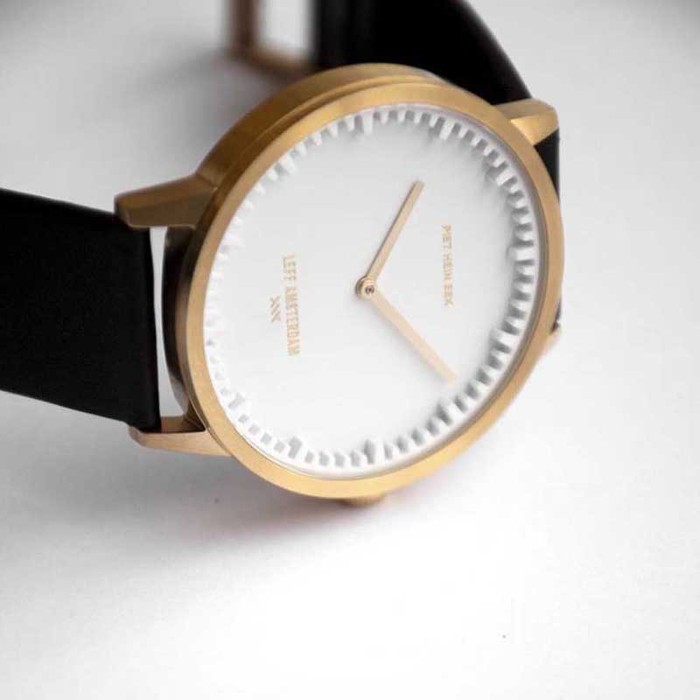 LEFF amsterdam|北歐工業齒輪設計真皮腕錶 (40mm黃銅金x咖啡皮錶帶)