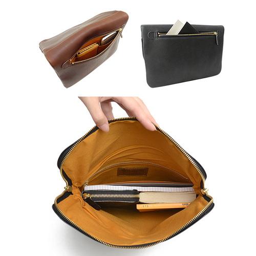 CLEDRAN|都會雅痞款 牛皮雙拉練反折手提包   咖啡色
