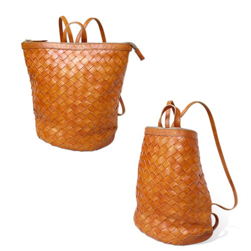 ROBITA 職人手染編織牛革大拉鍊立體手提包/後背包