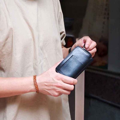 CLEDRAN|日本栃木苯染植鞣軟牛皮隨身鑰匙零錢包