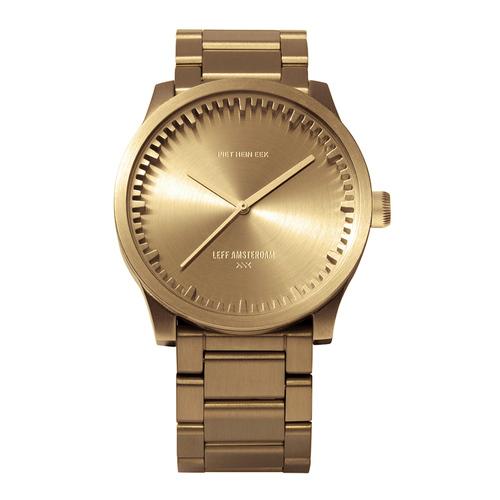 LEFF amsterdam|tube  北歐工業齒輪設計真皮腕錶 (42mm,閃耀黃銅、黃銅鋼帶)