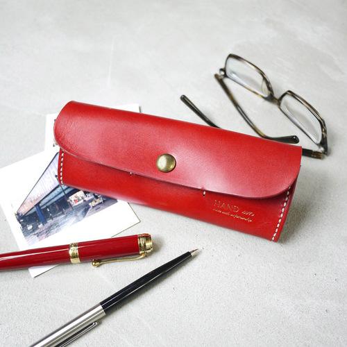 HANDIIN|專屬風格 多功能手縫皮革筆盒/眼鏡盒紅色