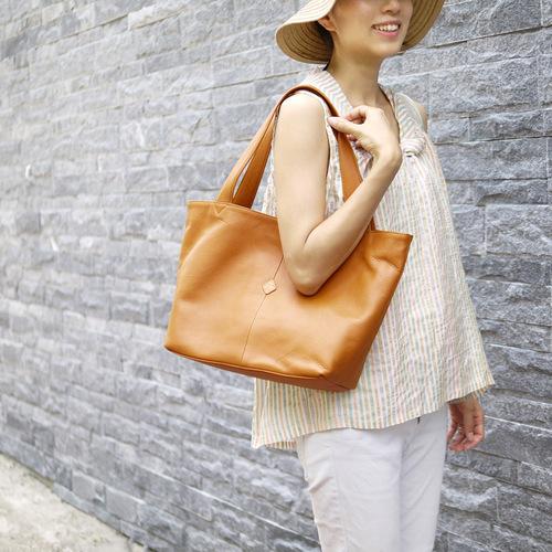 CLEDRAN|通勤愛用款 軟質皮革仕女大方肩側背包