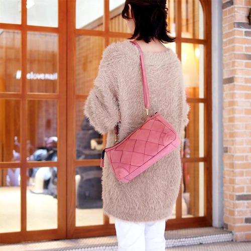 ROBITA|質感手染  隨身編織牛革立體手拿包/斜背包