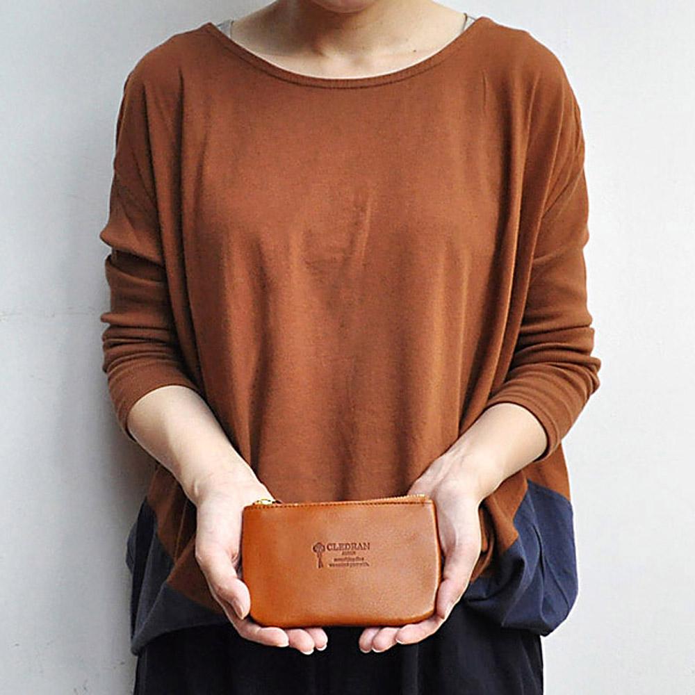 CLEDRAN 質感生活 簡約植鞣牛皮小物收納包/零錢/鑰匙包