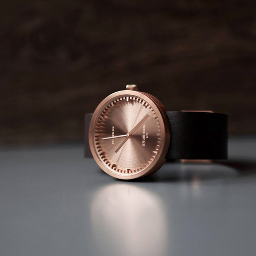 LEFF amsterdam tube 北歐工業齒輪設計真皮腕錶 (38mm,玫瑰金、棕皮帶)