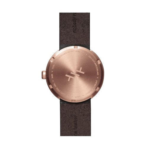 LEFF amsterdam|tube 北歐工業齒輪設計真皮腕錶 (38mm,玫瑰金、棕皮帶)