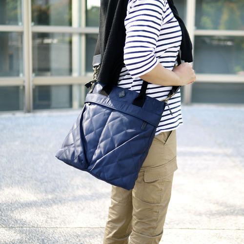 CLEDRAN 輕盈時尚 日系菱格紋防潑水尼龍手提/斜背兩用包