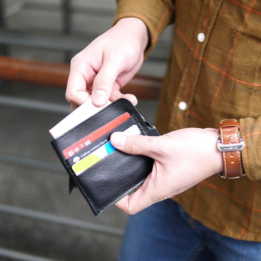 CLEDRAN|纖薄輕巧 日本手作機能簡約牛皮零錢包/皮夾