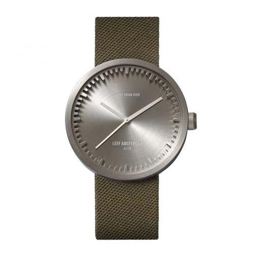 LEFF Amsterdam Tube |北歐工業齒輪設計 尼龍 X 小牛皮腕錶 (42mm,不鏽鋼銀錶盤、 綠色尼龍錶帶)