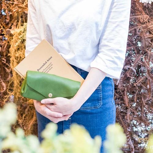 CHAM|日系手作多褶式立體包型  手拿/長夾 兩用包