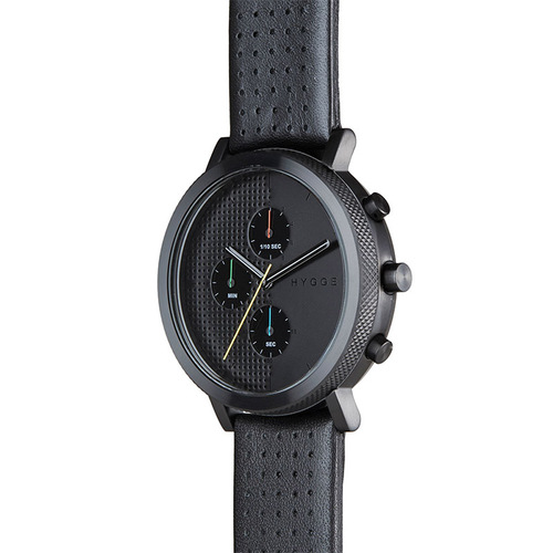 HYGGE|都會時尚,機能真皮腕錶(不銹鋼霧黑、黑色皮錶帶)